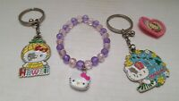 Keychain Hello Kitty Bracelet Clip Plastic Figurine ( lot of 4) Fast Shipping