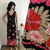 Vintage 60s 70s Daisy Gerbera Floral Maxi Dress Evening Boho 12 40