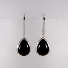 Genuine 925 Sterling Silver Black Agate Teardrop Long Dangle Drop Earrings