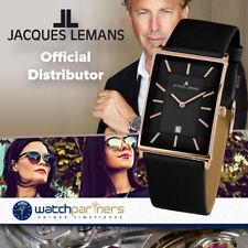 JACQUES LEMANS Classic York Square Ladies Watch 5ATM  28x39 R/Gold Case Blk Dial