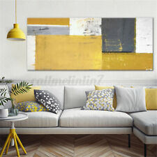 Mustard Yellow Grey Abstract Painting Canvas Wall Art Print Pictures Unframed GB