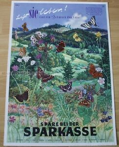 GERMAN  SPARKASSE - SAVE MONEY * BUTERFLY POSTER art print butterflies