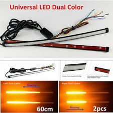 2PCS 60cm Dual Color Car DRL LED Turn Signal Brake Flash Strobe Light Lamp Strip