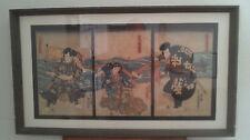 Kunisada Utagawa (Toyokuni III 1786-1865) Woodblock Triptych, Edo Period