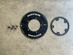 Rotor 52/36 110 BCD 5 Bolt Aero Chainrings w/ Chainring Bolts