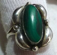 Vintage Handmade Hallmarked Silver & Oval Malachite Ring Size N (US size 6-3/4)