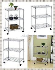 Chrome Rolling Storage Cart Three Shelves Portable Kitchen Unit Versatile Usage
