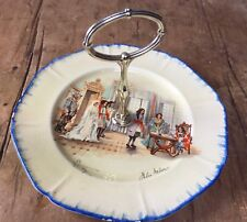 VINTAGE 'CORNET WARE' CAKE STAND  - HAND PAINTED & SIGNED PLATE