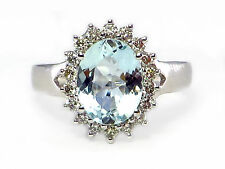 14k White Gold Aquamarine Solitaire with Accents Fine Rings