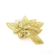 Gold Sequin Hair Comb 1920s Great Gatsby Flapper Vintage Headpiece Clip 30s 3055