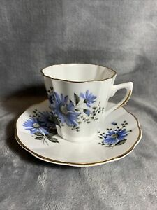Royal Dover Bone China Tea Cup and Saucer, England, Blue Flowers With Gold Band