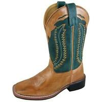 Smoky Mountain Childrens Western Cowboy Boots - Size 5.5 Big Kid - Tan/Green