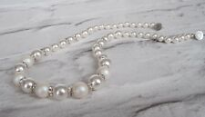 Pearl Necklace Made with Swarovski White and  Pearlescent White Crystal Pearl