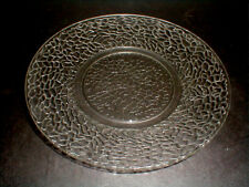 """L E Smith Crystal Crackle Glass BY CRACKY Plate Depression 8"""" Luncheon (big)"""