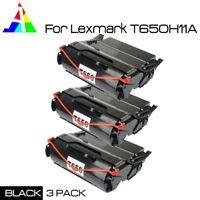 3 PK Black Toner For Lexmark T650 T652 T654 T656 T650N T656DNE T650H21A T650H11A