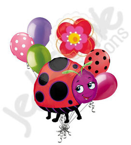 7 pc Miss Lady Bug Balloon Bouquet Party Decoration Birthday Baby Shower Flower