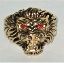Heavy Gold Plated Lion w/ Red Eyes & Clear Rhinestone Accents Size 12 3/4 Ring