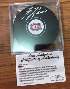 Guy Lafleur Auto Autographed Signed NHL Hockey Puck Leaf Certified