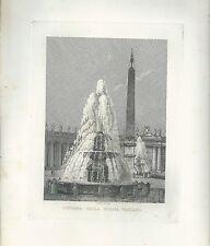 1848 ROMA FONTANA DELLA PIAZZA VATICANA acquaforte su rame Cottafavi Vaticano
