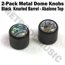 2-Pack Metal Dome Knobs - Black Knurled Barrel - Abalone Top Guitar Control NEW