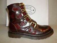 Steve Madden Sze 6.5 M MCBETH Wine Splashes Fashion Ankle Boots New Womens Shoes