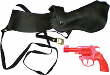 Morris Costumes Black Vinyl Shoulder Holster With Orange Plastic Revolver. BB106