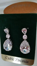 BRIDAL & SPECIAL OCASSION PLATINUM REFINED CUBIC ZIRCON PEAR SHAPE EARRINGS