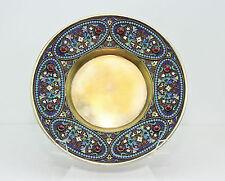 Russian 84 Silver Cloisonne Enamel Jeweld Cabinet Plate