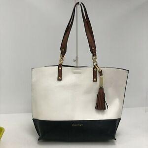 Calvin Klein Tote Bag Women's Size Medium White & Black Designer Casual 301037