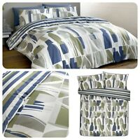 Racing Green TRACE Navy & Khaki Easy Care Duvet Cover Set