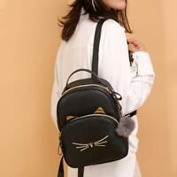 Teenagers Backpack PU Leather Shoulder Bag School Bags Girls Cat Square Satchel