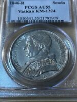 1846-R Papal States 1 Scudo Graded AU55 By PCGS!! Pope Gregory XVI!!