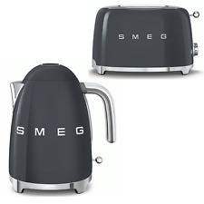 SMEG Grey Retro Kettle & 2 Slice Toaster - KLF03GRUK & TSF01GRUK | 2Y Warranty