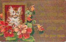 Yellow Tabby Cat~Green Eyes~Gold Frame~Red Orange Geraniums~Fortune Favor~Winsch