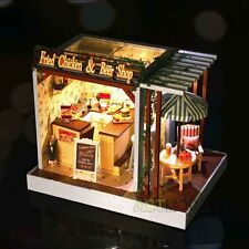 Kits DIY Wood Dollhouse miniature with LED+Furniture+cover Doll house room #R23