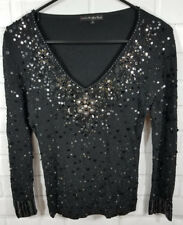 Pierri New York Womens Sweater Small Black Floral Beads Sequins 3/4 sleeve