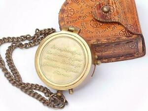 Nautical Brass Flat Engraved Compass W/ Leather Case Ship Collectible Gift