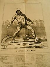 HD 3334 Caricature DAUMIER 1867 THE REAL WRESTLER MASKED
