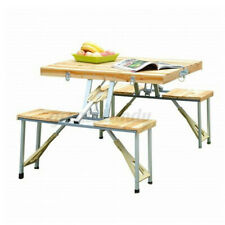 2 IN 1 Aluminum Picnic Table Bench Seat Outdoor Portable Folding Camping 4 Seats