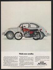 1975 KAWASAKI KZ-400 Special Motorcycle & White Volkswagen Beetle VINTAGE AD