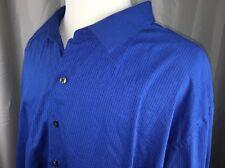 Van Heusen size 4XL 21 21-1/2 men's long sleeved Blue dress shirt Cotton Blend