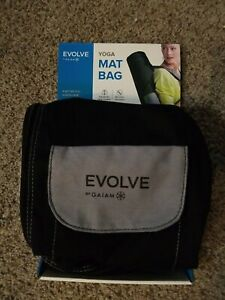 NEW Evolve by Gaiam black yoga mat bag with shoulder strap, pockets, & full zip