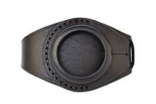 Strap Pocket Watch Molnija Molniya Molnia Black Leather Watch Wrist Band 50 mm