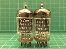 CV491 (ECC82 12AU7) 1958 Pair D-getter Foil  SAND-BLASTED Code Philips