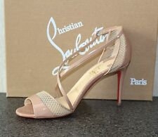 NIB Christian Louboutin SLIKOVA 85 Nude PATENT/RETE MINI Pumps Shoes 39.5