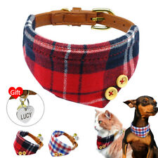 Pet Bandana-Style Dog Collar with Engraved ID Tag Puppy Neckerchief Neck Scarf