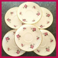 Princess House Hammersley Saucers Spode Bone China Made in England Roses Set 6