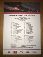 Arsenal v Manchester City (Man City) Team Sheet 12th August 2018