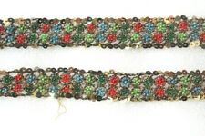 Antique Vintage Sari DOLL craft hand beaded border ribbon lace ZARDOSI ZARI 11