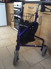Tri-Walker Blue 3 Wheels Walking Frame Mobility Aid with Bag & Basket